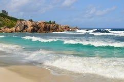 Νησιά των Σεϋχελλών, Λα Digue, παραλία Anse Cocos Στοκ Φωτογραφίες