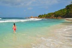 Νησιά των Σεϋχελλών, Λα Digue, παραλία Anse Cocos Στοκ εικόνα με δικαίωμα ελεύθερης χρήσης