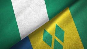 Νιγηρία και Άγιος Βικέντιος και Γρεναδίνες δύο υφαντικό ύφασμα σημαιών διανυσματική απεικόνιση
