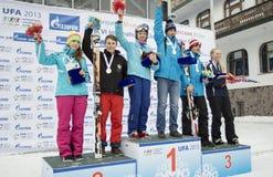 Νικητές των χειμερινών αγώνων VI διεθνών παιδιών από το UFA Στοκ φωτογραφία με δικαίωμα ελεύθερης χρήσης