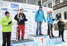 Νικητές των χειμερινών αγώνων VI διεθνών παιδιών από το UFA Στοκ Εικόνες