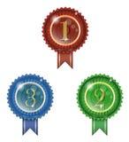123 νικητής διακριτικών Στοκ Εικόνες