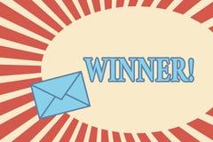 Νικητής κειμένων γραφής Η έννοια που σημαίνει το πρόσωπο ή το πράγμα που κερδίζουν κάτι στόχος έφθασε στο επίτευγμα απεικόνιση αποθεμάτων