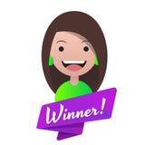 Νικητής μηνυμάτων! Επικεφαλής είδωλο του κοριτσιού στα πράσινα ενδύματα Ελεύθερη απεικόνιση δικαιώματος
