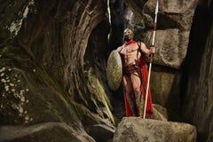 Νικηφορόρος ελληνικός πολεμιστής στο βράχο Στοκ Εικόνες