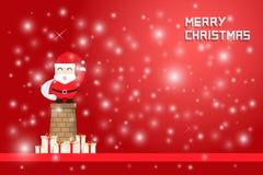 Νιφάδα και Άγιος Βασίλης χιονιού που στέκονται στην καπνοδόχο απεικόνιση αποθεμάτων