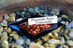 Νιφάδες κόκκινων πιπεριών σε ένα μικρό πιάτο με την ισπανική ετικέτα Στοκ εικόνα με δικαίωμα ελεύθερης χρήσης