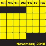 2018 Νοέμβριος κίτρινος στο μαύρο ημερολόγιο αρμόδιων για το σχεδιασμό ελεύθερη απεικόνιση δικαιώματος