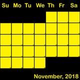 2018 Νοέμβριος κίτρινος στο μαύρο ημερολόγιο αρμόδιων για το σχεδιασμό μεγάλο απεικόνιση αποθεμάτων