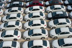 Νοβορωσίσκ, Ρωσίας - 18 Μαΐου, 2017: Πολύ νέο corolla της TOYOTA αυτοκινήτων που σταθμεύουν στην περιοχή για την πώληση επάνω από Στοκ φωτογραφίες με δικαίωμα ελεύθερης χρήσης