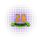 28 Νοεμβρίου εικονίδιο ημερομηνίας, ύφος comics διανυσματική απεικόνιση