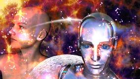 Νοημοσύνη - γυναίκα ρομπότ που συνδέεται τεχνητή με ένα θηλυκό ελεύθερη απεικόνιση δικαιώματος
