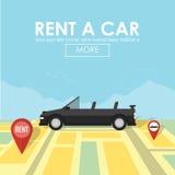 Νοικιάστε έναν δείκτη καρφιτσών αυτοκινήτων στη θέση χαρτών Διανυσματική απεικόνιση