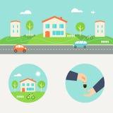Νοικιάστε μια απεικόνιση σπιτιών Συνεργάσιμη κατανάλωση και κοινή οικονομία ελεύθερη απεικόνιση δικαιώματος