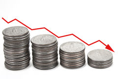 νομίσματα βελών κάτω πέρα από  Στοκ Εικόνες