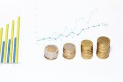 νομίσματα διαγραμμάτων Στοκ Φωτογραφία