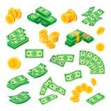 Νομίσματα δολαρίων και λογαριασμοί, σύνολο τραπεζογραμματίων εγγράφου ελεύθερη απεικόνιση δικαιώματος