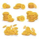 Νομίσματα εικονιδίων για τη διεπαφή παιχνιδιών Σύνολο νομίσματος κινούμενων σχεδίων για τα apps επίσης corel σύρετε το διάνυσμα α διανυσματική απεικόνιση