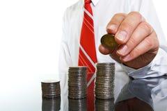 νομίσματα επιχειρηματιών Στοκ Εικόνα