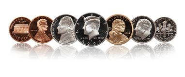 Νομίσματα Ηνωμένης απόδειξης καθορισμένα απομονώνω στο λευκό στοκ εικόνα