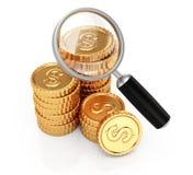 Νομίσματα και πιό magnifier απεικόνιση αποθεμάτων