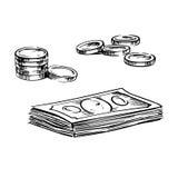 Νομίσματα και σωροί των σκίτσων λογαριασμών δολαρίων Στοκ Εικόνα