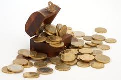 νομίσματα κιβωτίων Στοκ Φωτογραφίες