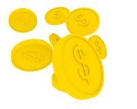 νομίσματα κινούμενων σχεδίων που πετούν το χρυσό ύφος Στοκ Εικόνες