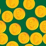 Νομίσματα με το ευρο- άνευ ραφής σχέδιο συμβόλων Στοκ εικόνες με δικαίωμα ελεύθερης χρήσης