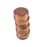 Νομίσματα δολαρίων σεντ πενών σίτου 1 σεντ που απομονώνεται Στοκ Φωτογραφίες