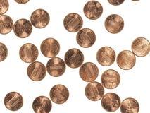 Νομίσματα δολαρίων σεντ πενών σίτου 1 σεντ Στοκ Φωτογραφίες