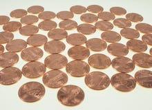 Νομίσματα δολαρίων σεντ πενών σίτου 1 σεντ Στοκ εικόνα με δικαίωμα ελεύθερης χρήσης