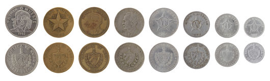 Νομίσματα που απομονώνονται κουβανικά στο λευκό Στοκ φωτογραφία με δικαίωμα ελεύθερης χρήσης