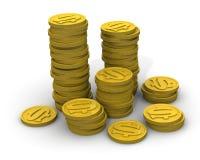 Νομίσματα που συσσωρεύονται στους σωρούς διανυσματική απεικόνιση