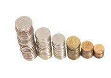 Νομίσματα που τακτοποιούνται ως γραφική παράσταση Στοκ εικόνες με δικαίωμα ελεύθερης χρήσης