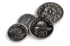 Νομίσματα Σινγκαπούρης που απομονώνονται στο λευκό Στοκ εικόνα με δικαίωμα ελεύθερης χρήσης