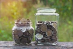 Νομίσματα στα νομίσματα γυαλιού και σωρών με το δέντρο για την επιχείρηση και το φόρο Στοκ Φωτογραφίες