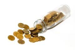 Νομίσματα στο μπουκάλι Στοκ Εικόνες