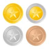 νομίσματα τέσσερα χρυσός Στοκ Εικόνα