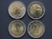 Νομίσματα της ΕΥΡ με τους ιταλικούς συγγραφείς Στοκ εικόνα με δικαίωμα ελεύθερης χρήσης