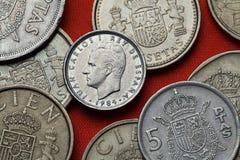Νομίσματα της Ισπανίας Βασιλιάς Juan Carlos Ι Στοκ Εικόνα