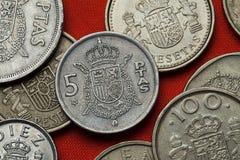 Νομίσματα της Ισπανίας Ισπανικό εθνικό έμβλημα Στοκ Φωτογραφία