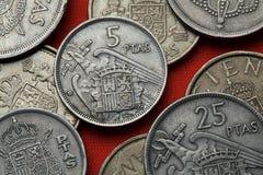 Νομίσματα της Ισπανίας Ισπανικό κρατικό έμβλημα κάτω από το Φράνκο Στοκ εικόνα με δικαίωμα ελεύθερης χρήσης