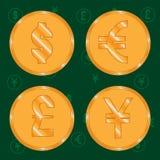 Νομίσματα του δημοφιλέστερου δολαρίου, του ευρώ, της λίβρας και των γεν παγκόσμιου νομίσματος ελεύθερη απεικόνιση δικαιώματος