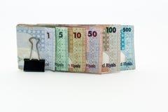 Νομίσματα του Κατάρ εκατό Riyal, πεντακόσια riyal, εκατό riyal, πενήντα riyal, δέκα riyal, πέντε riyal και ένα riyal Στοκ Εικόνες