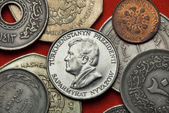 Νομίσματα του Τουρκμενιστάν Τουρκμενικός Πρόεδρος Saparmurat Niyazov Στοκ εικόνα με δικαίωμα ελεύθερης χρήσης