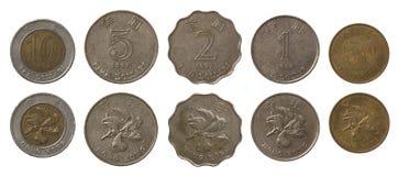 Νομίσματα του Χογκ Κογκ που απομονώνονται στο λευκό Στοκ Εικόνα