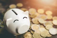 Νομίσματα τραπεζών Piggy με τα χρήματα αποταμίευσης αύξησης βημάτων σωρών χρημάτων Στοκ φωτογραφία με δικαίωμα ελεύθερης χρήσης