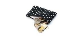 Νομίσματα τσαντών που απομονώνονται στο άσπρο υπόβαθρο Στοκ εικόνα με δικαίωμα ελεύθερης χρήσης