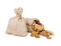 νομίσματα τσαντών που γεμί&z Μια άσπρη ανασκόπηση Στοκ φωτογραφίες με δικαίωμα ελεύθερης χρήσης